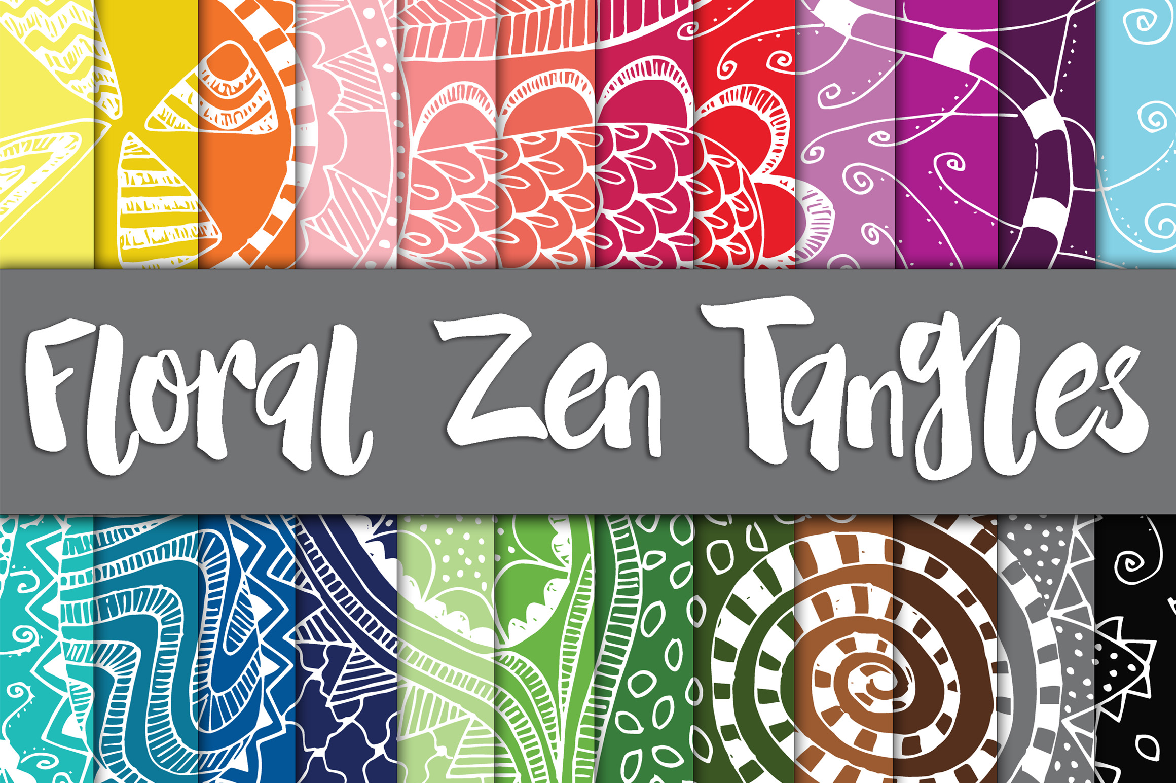 Print on Demand: Floral Zen Tangles Digital Paper Graphic Backgrounds By oldmarketdesigns