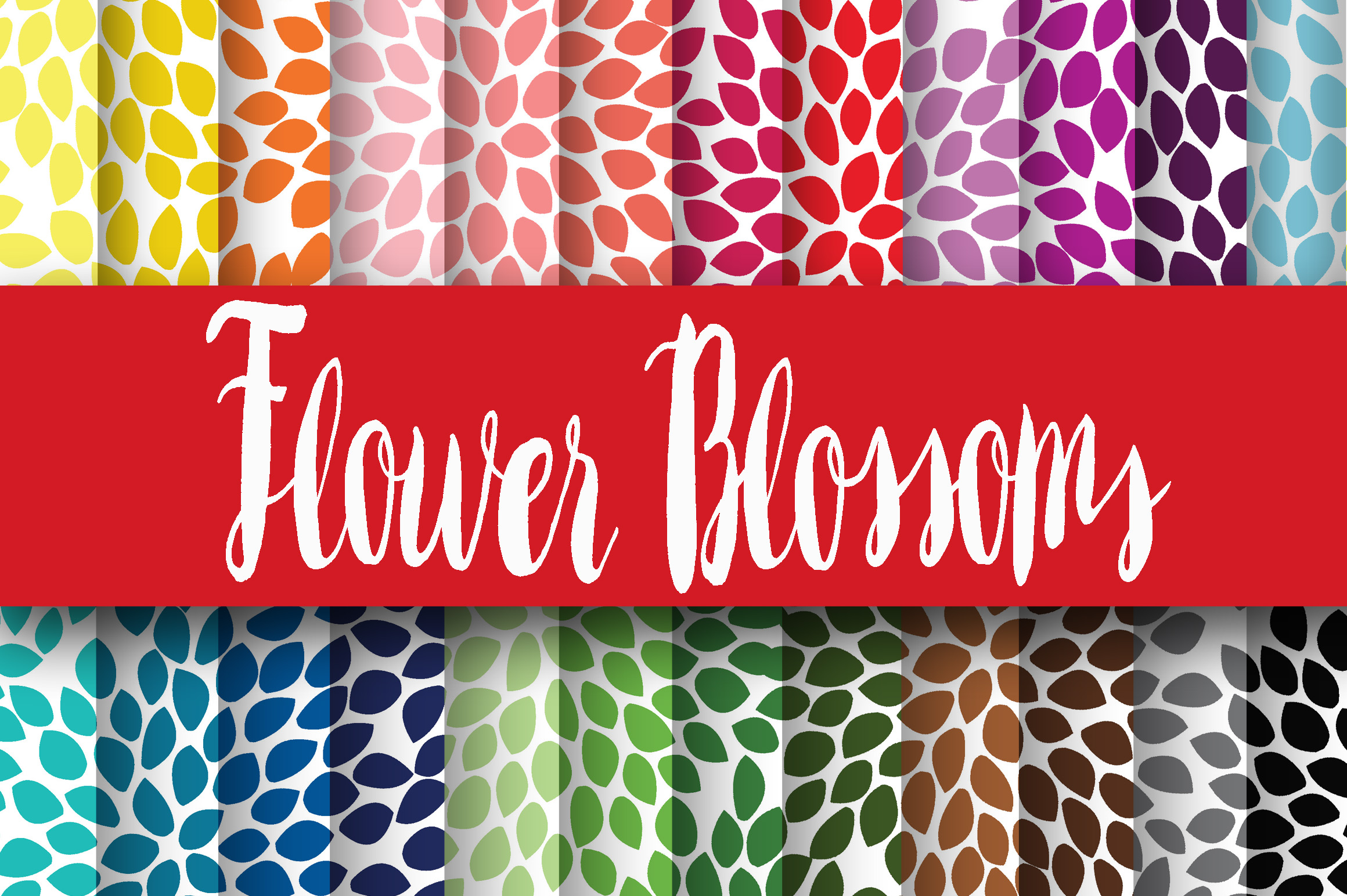 Print on Demand: Flower Blossoms Digital Papers Graphic Backgrounds By oldmarketdesigns