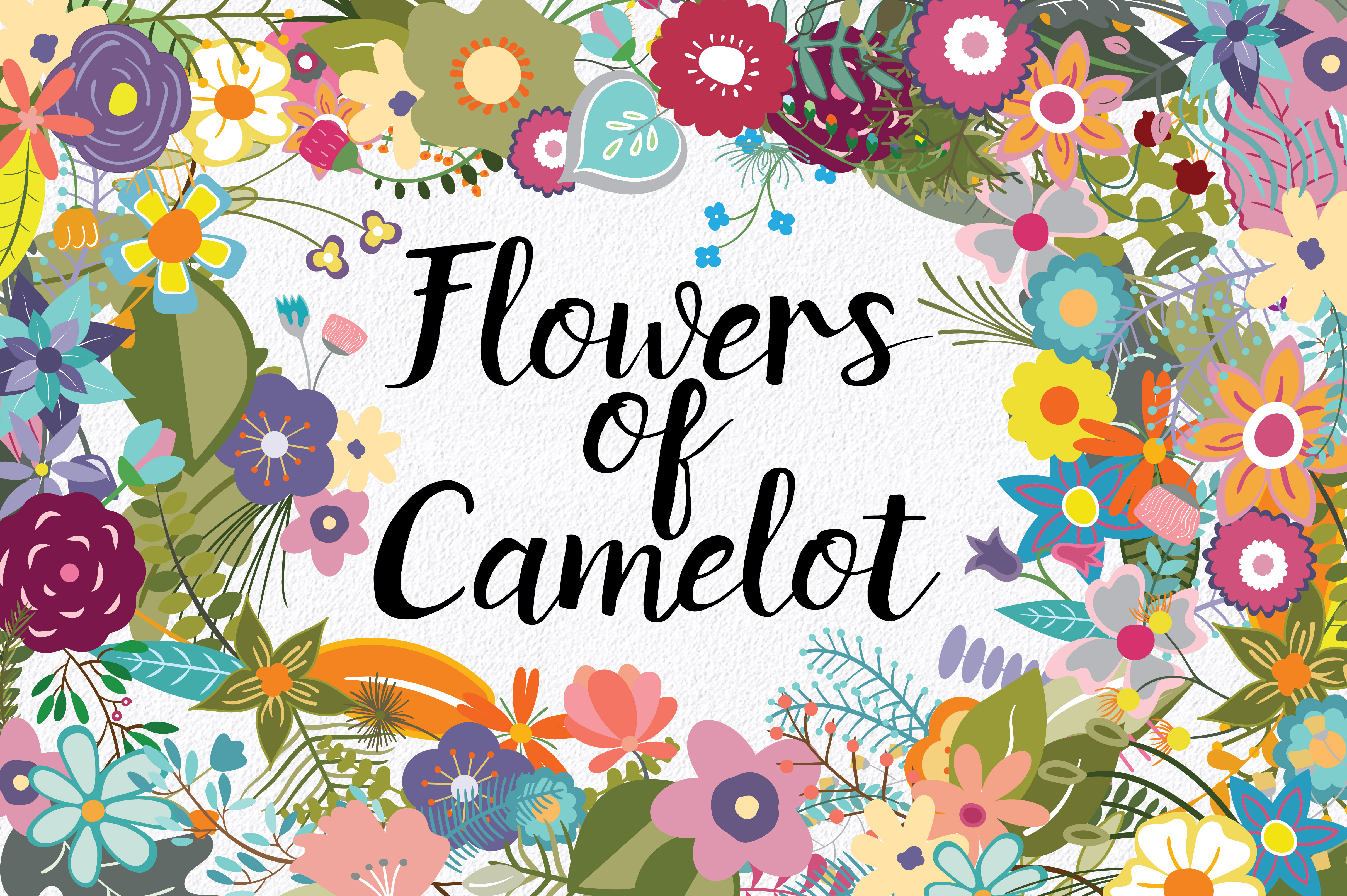 Print on Demand: Flowers of Camelot Clip Art Graphic Illustrations By oldmarketdesigns