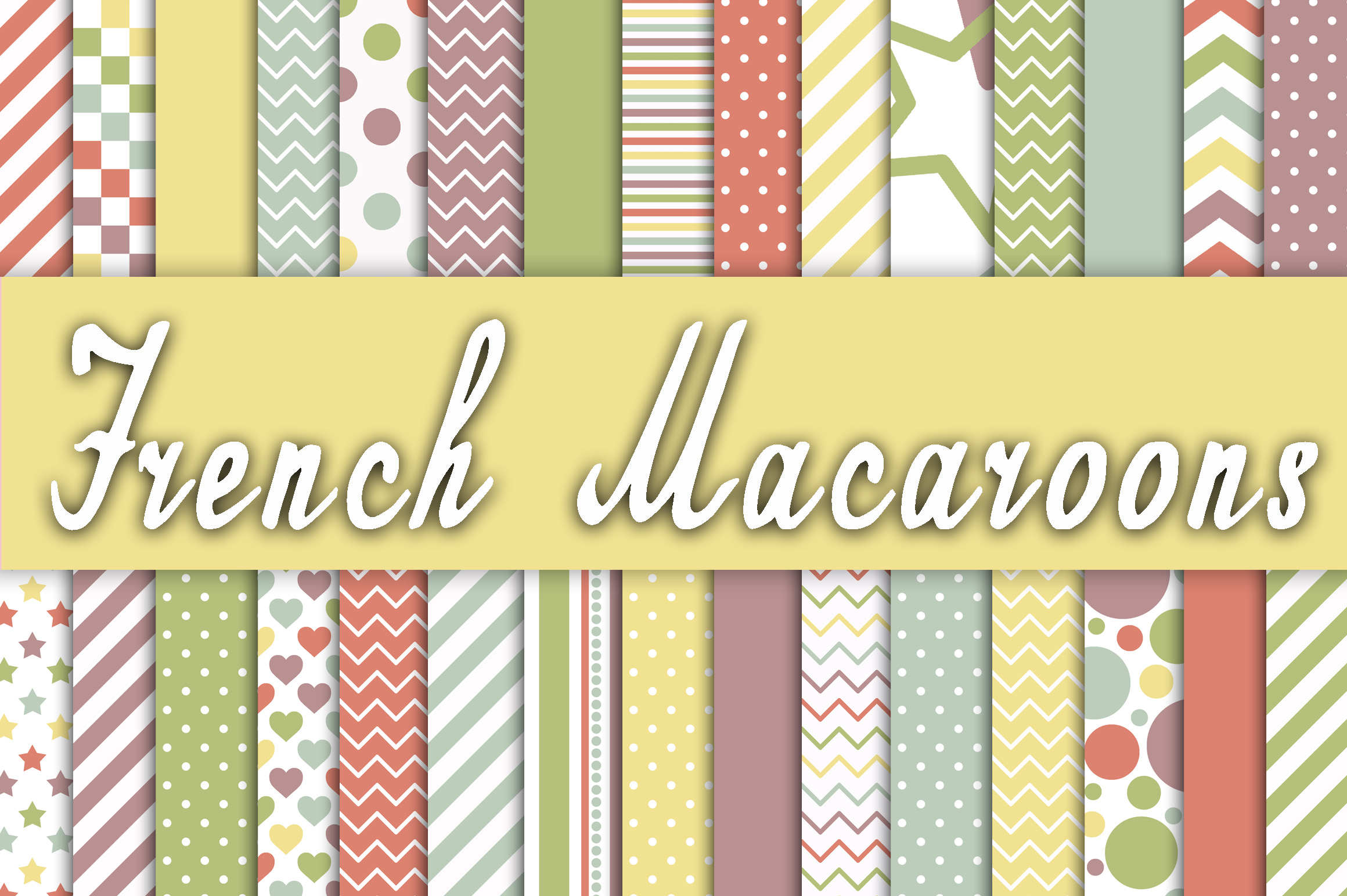 French Macaroons Digital Paper Graphic Backgrounds By oldmarketdesigns - Image 1