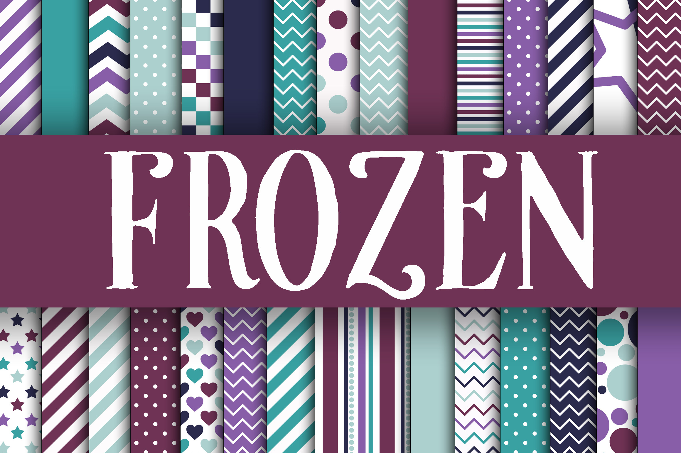 Frozen Digital Papers Graphic Backgrounds By oldmarketdesigns