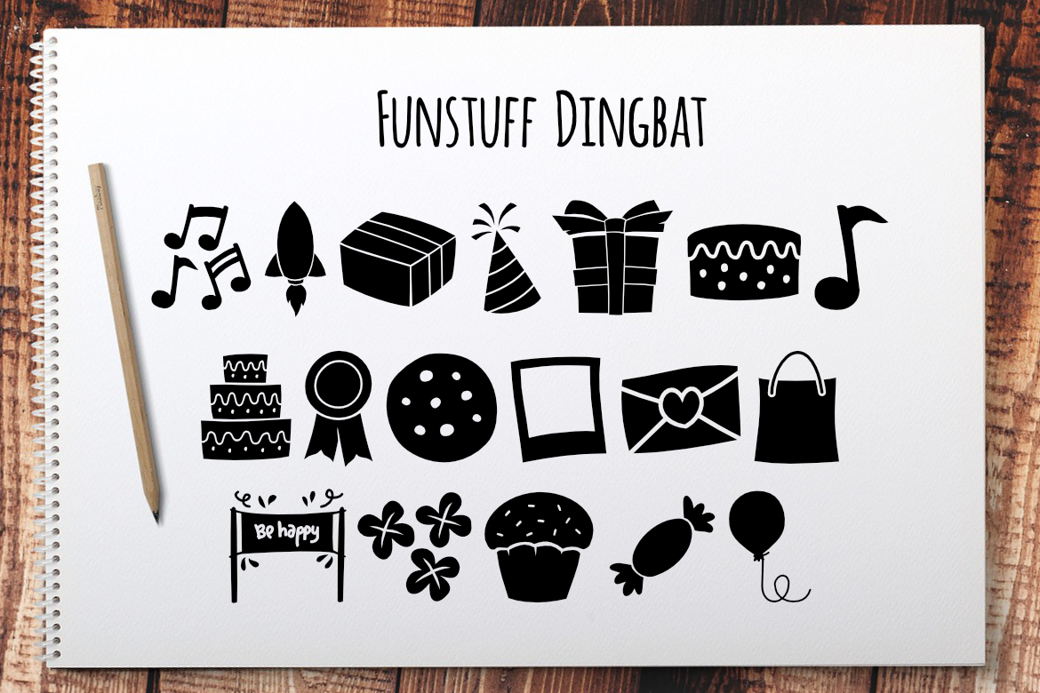 Print on Demand: Funstuff Dingbat Dingbats Font By LebahStudio