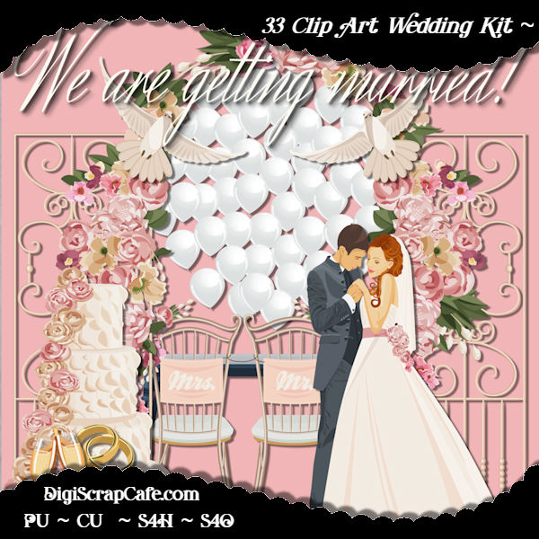 Getting Married Clip Art Package Graphic Illustrations By AHDesign - Image 1