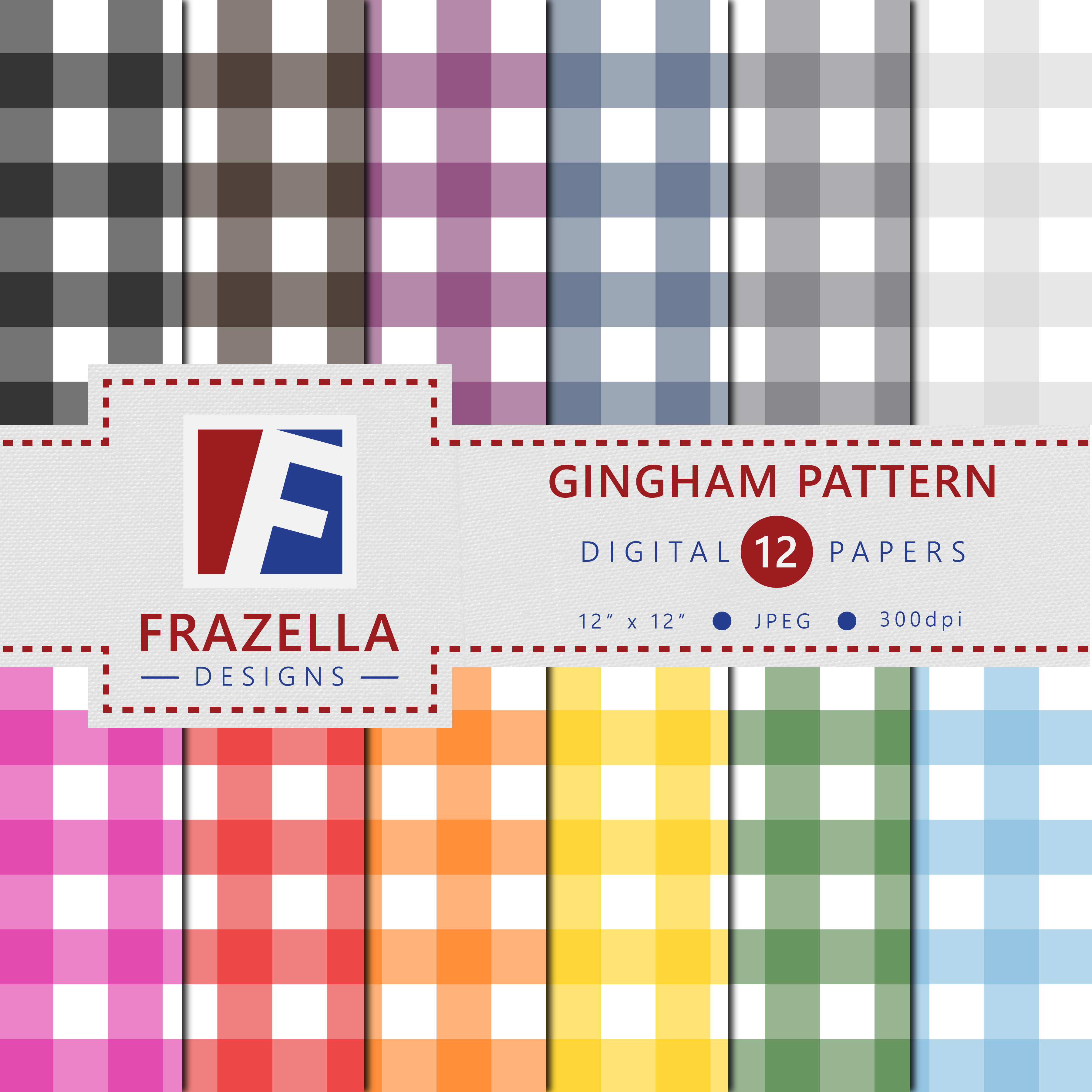 Download Free Gingham Pattern Digital Paper Collection Graphic By Frazella for Cricut Explore, Silhouette and other cutting machines.