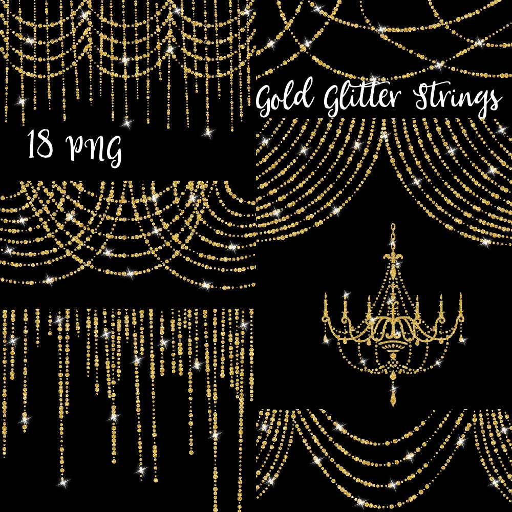 Print on Demand: Gold Glitter String LIghts Clipart Graphic Illustrations By fantasycliparts