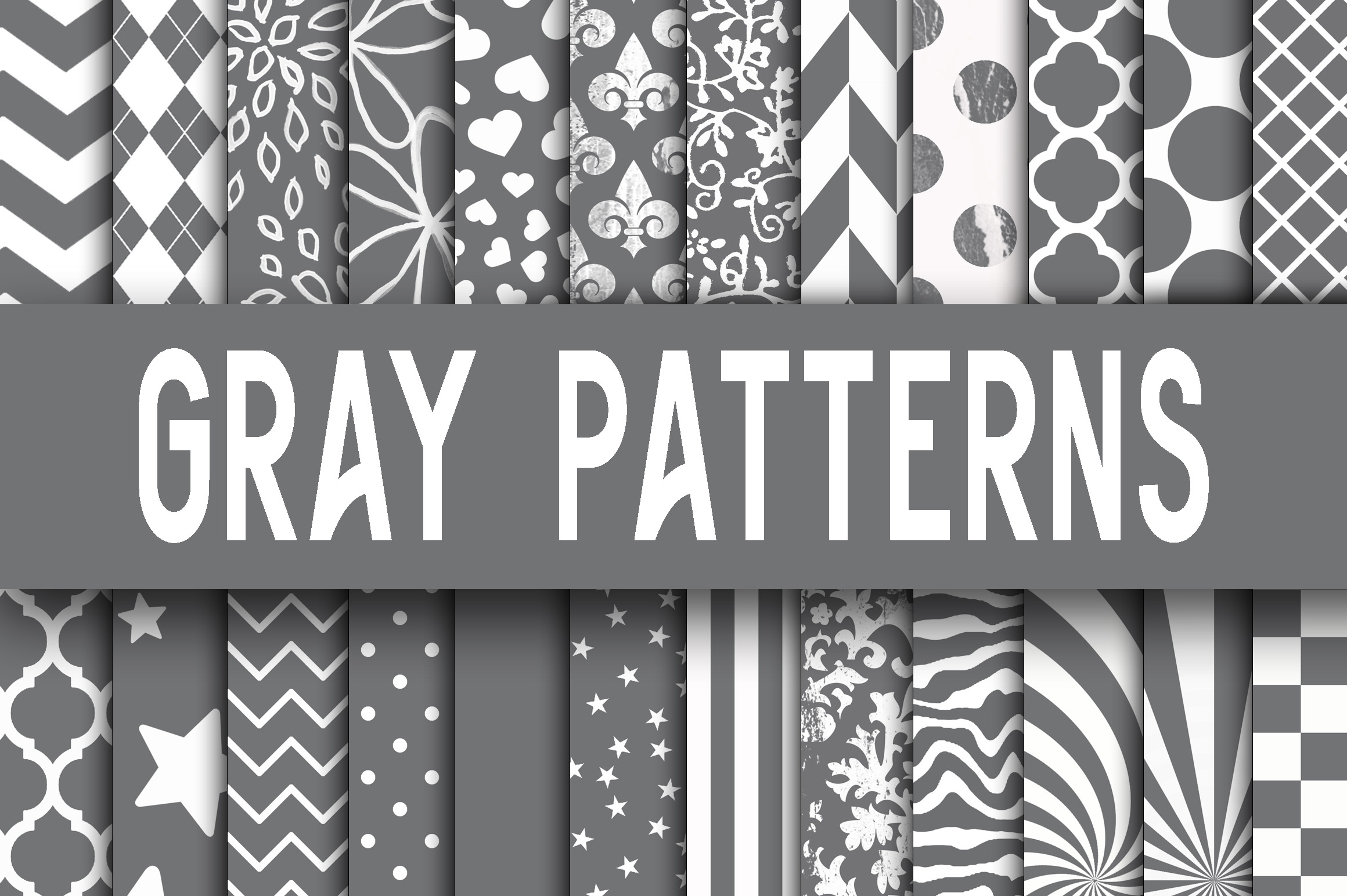 Gray Digital Paper Patterns Graphic Backgrounds By oldmarketdesigns - Image 1