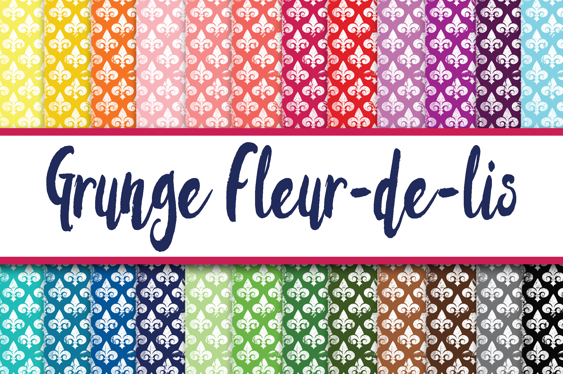 Print on Demand: Grunge Fleur De Lis Digital Paper Textures Graphic Backgrounds By oldmarketdesigns