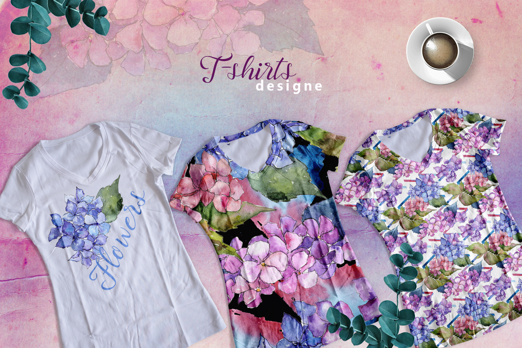 Print on Demand: Hydrangea PNG Watercolor Flower Set Graphic Illustrations By MyStocks - Image 2