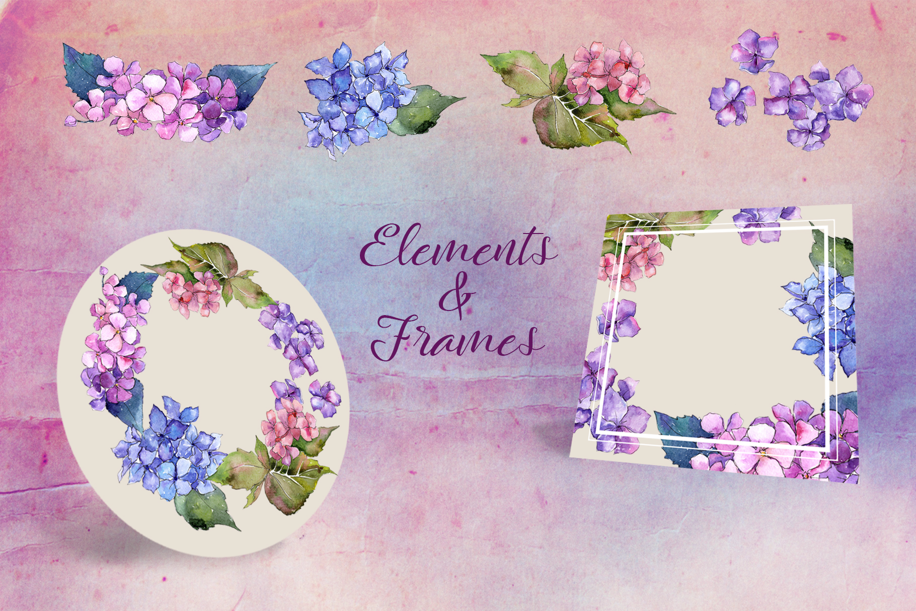 Print on Demand: Hydrangea PNG Watercolor Flower Set Graphic Illustrations By MyStocks - Image 4