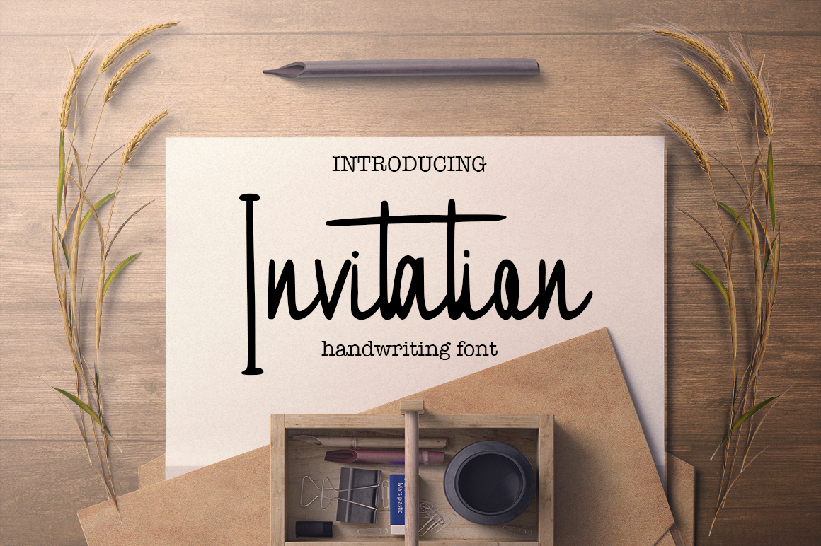 Print on Demand: Invitation Script & Handwritten Font By InkandBrush