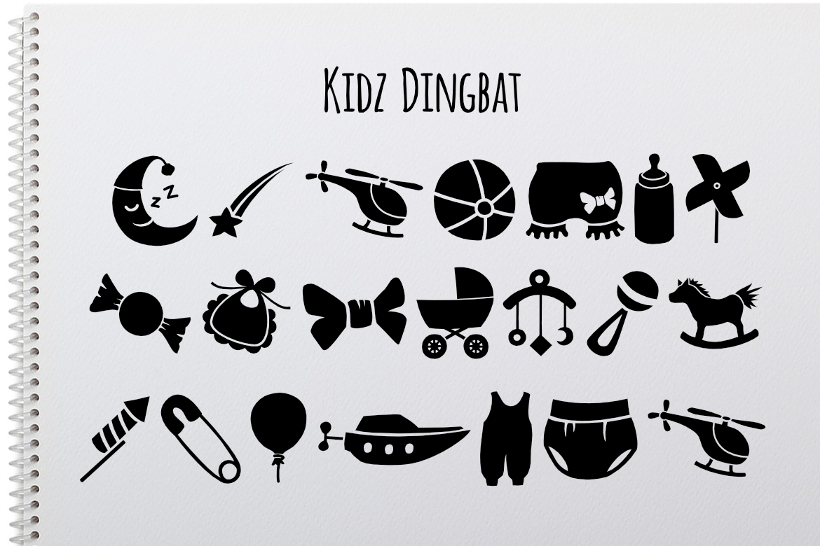 Print on Demand: Kidz Dingbat Dingbats Font By LebahStudio