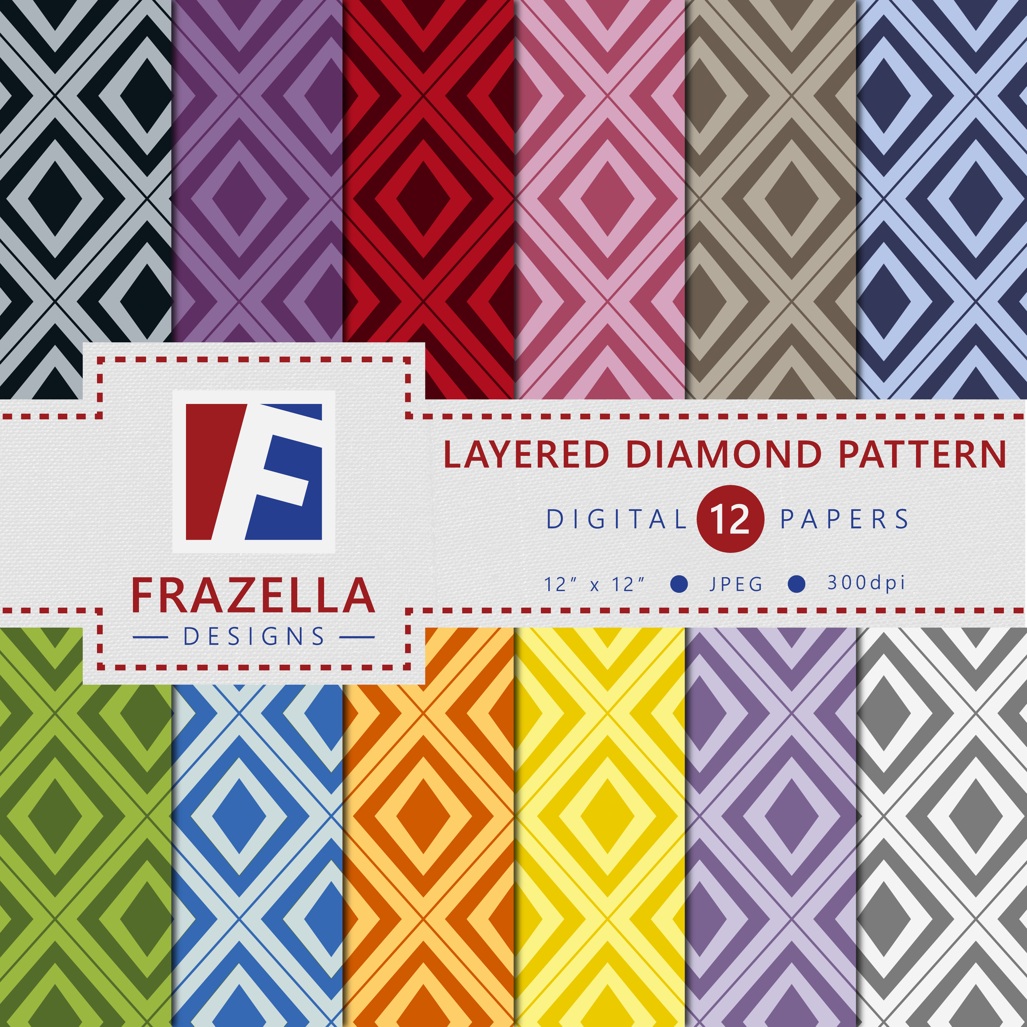 Download Free Layered Diamond Pattern Digital Paper Collection Graphic By for Cricut Explore, Silhouette and other cutting machines.