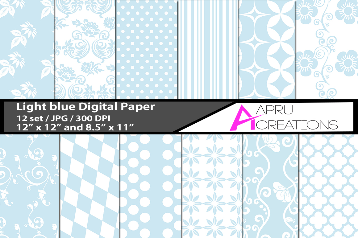 Print on Demand: Light Blue Digital Papers Graphic Patterns By aparnastjp