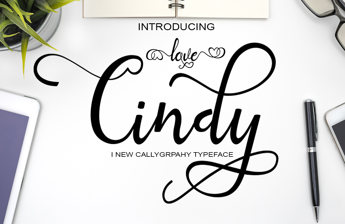 Print on Demand: Love Cindy Script Script & Handwritten Font By art design