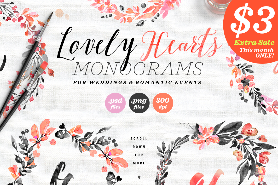 Lovely Hearts Monograms Graphic By lavie1blonde