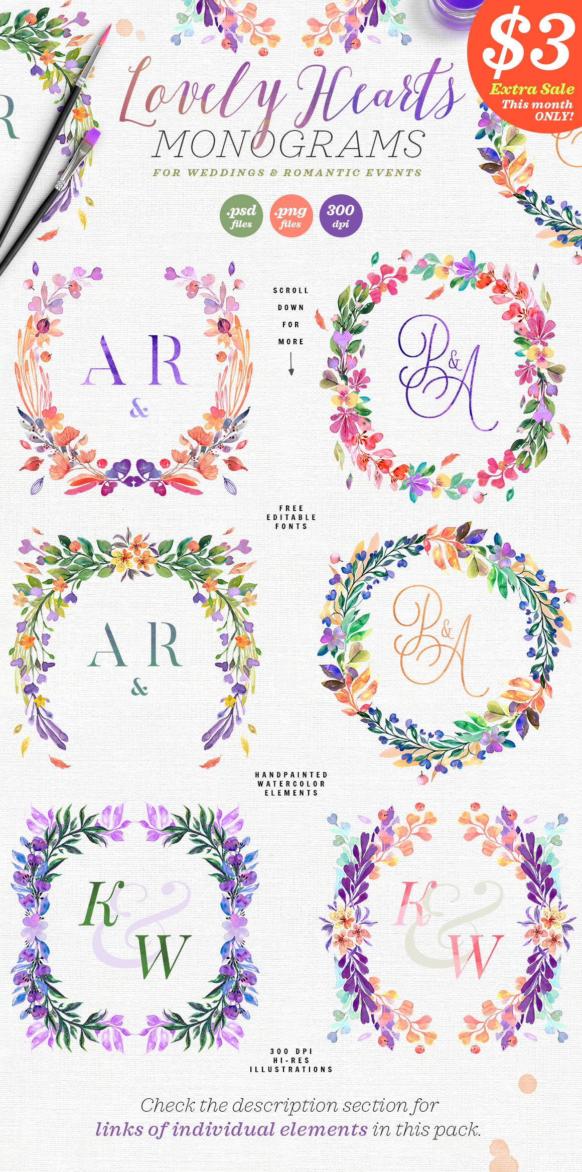 Lovely Hearts Monograms Graphic Illustrations By lavie1blonde