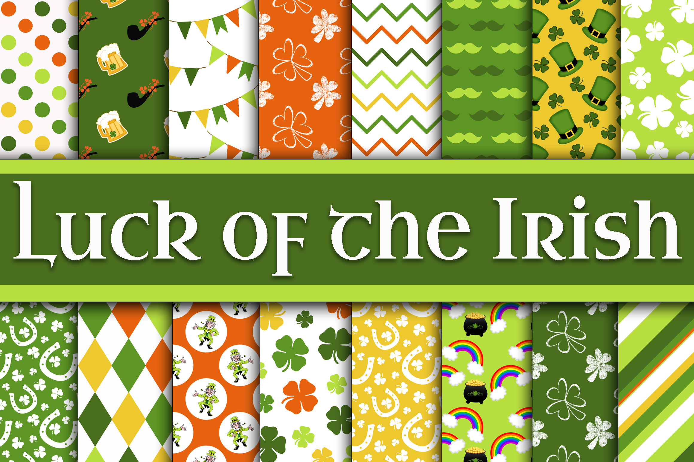 Print on Demand: Luck of the Irish Digital Paper - St Patricks Day Paper Graphic Backgrounds By oldmarketdesigns - Image 1