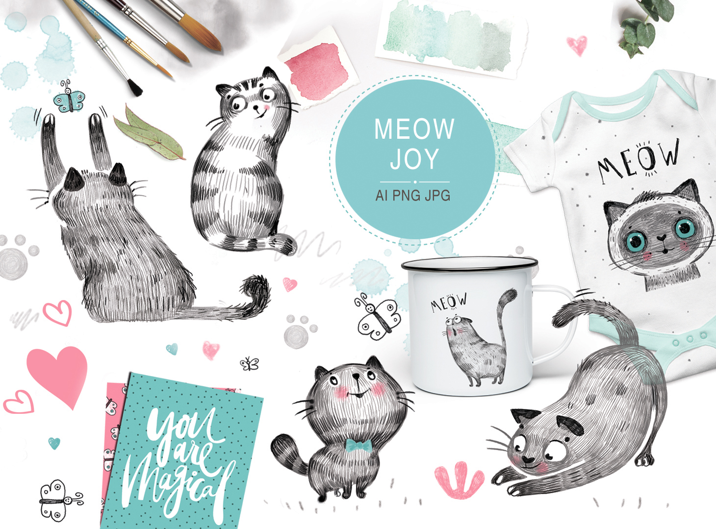 MEOW Joy (graphic Pack) Grafik Illustrationen von sto-va
