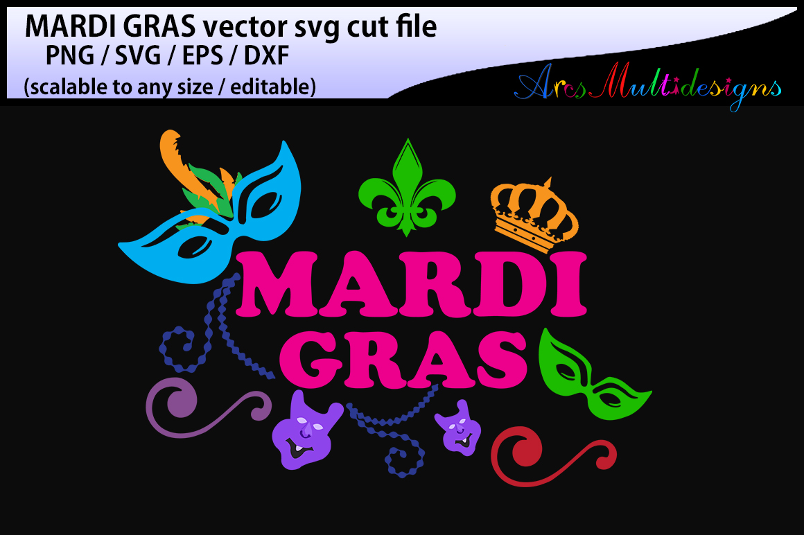 Download Free Mardi Gras Silhouette Graphic By Arcs Multidesigns Creative for Cricut Explore, Silhouette and other cutting machines.