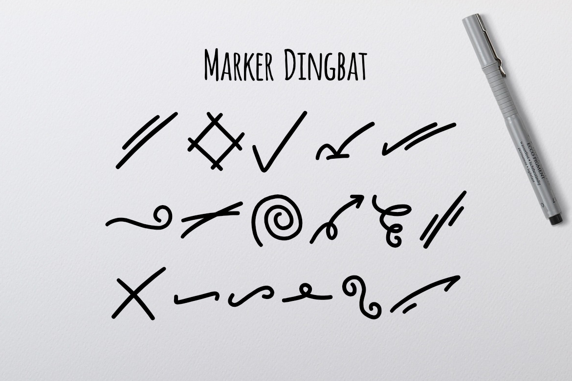 Print on Demand: Marker Dingbat Dingbats Font By LebahStudio