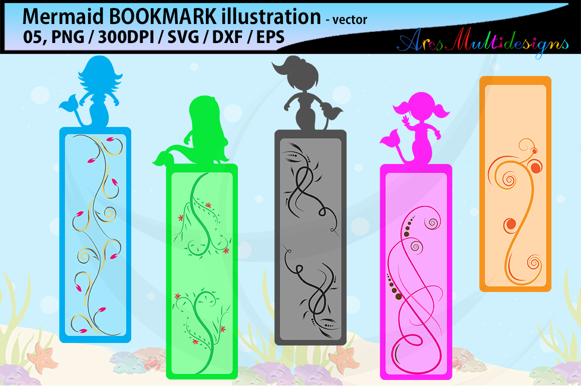 Download Free Mermaid Bookmark Clipart Illustration Graphic By Arcs Multidesigns Creative Fabrica for Cricut Explore, Silhouette and other cutting machines.