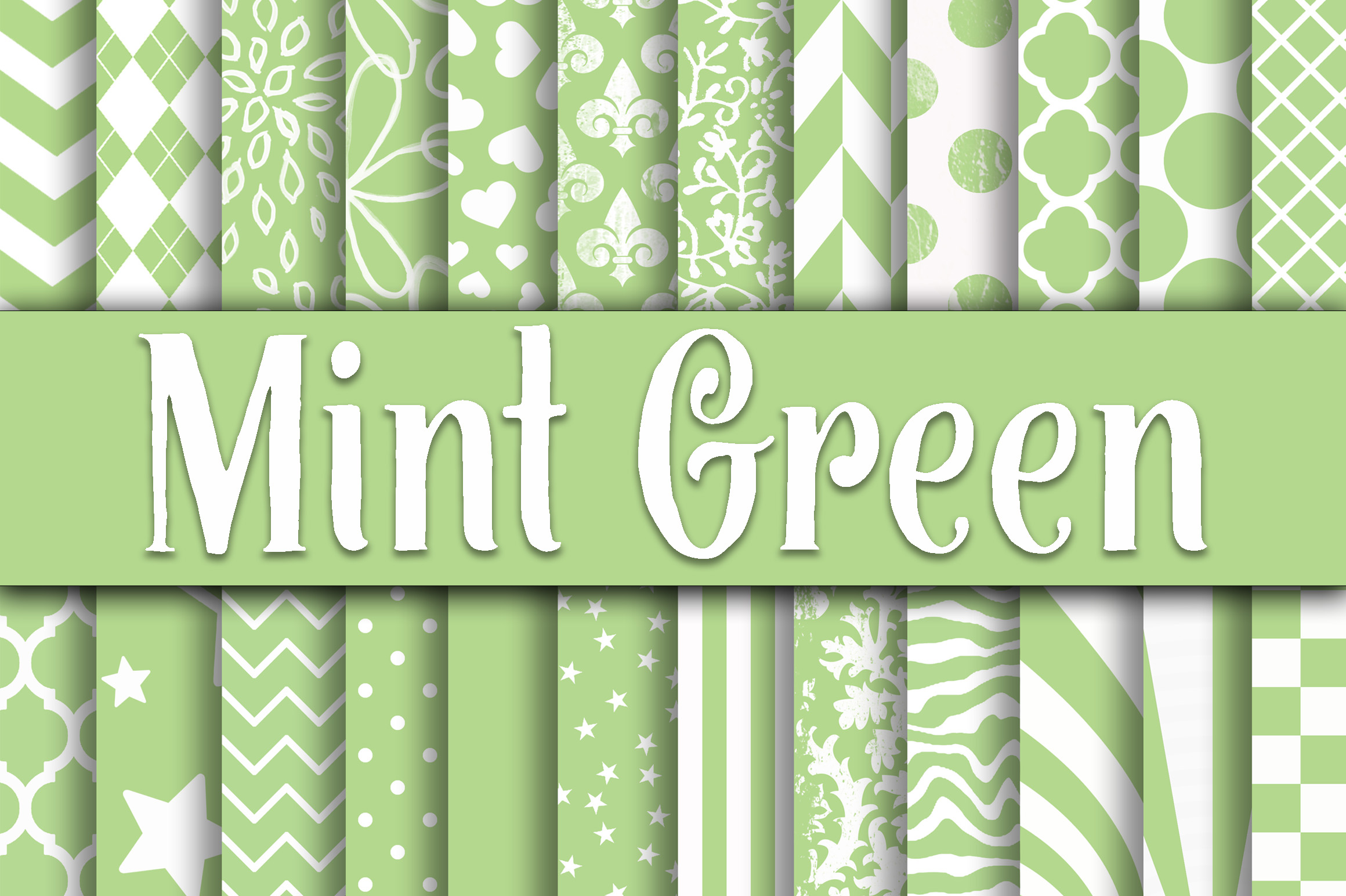 Print on Demand: Mint Green Patterns Digital Paper Graphic Backgrounds By oldmarketdesigns - Image 1