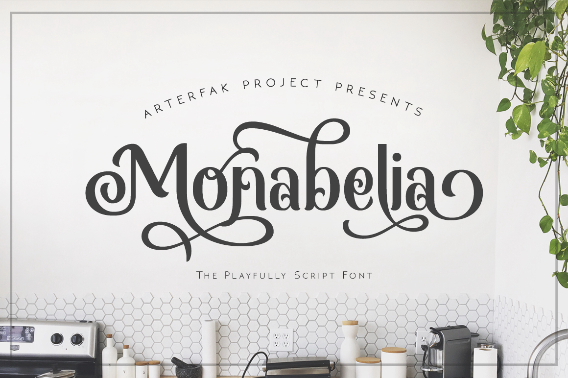 Download Free Monabelia Font By Arterfak Project Creative Fabrica for Cricut Explore, Silhouette and other cutting machines.