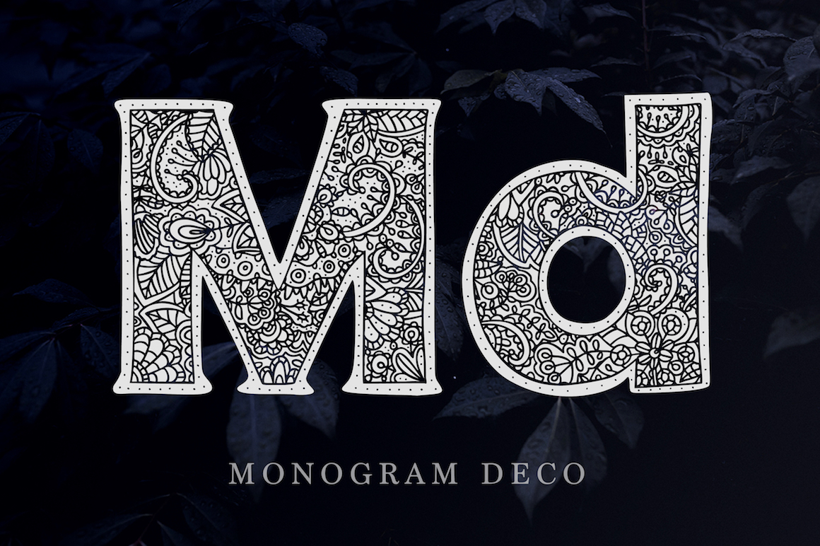 Print on Demand: Monogram Font Family Decorative Font By Red Ink - Image 3