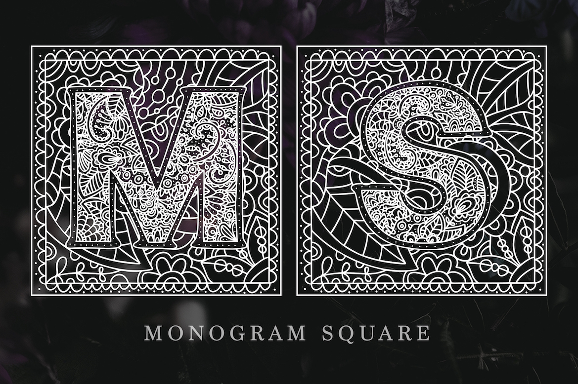 Print on Demand: Monogram Font Family Decorative Font By Red Ink - Image 5