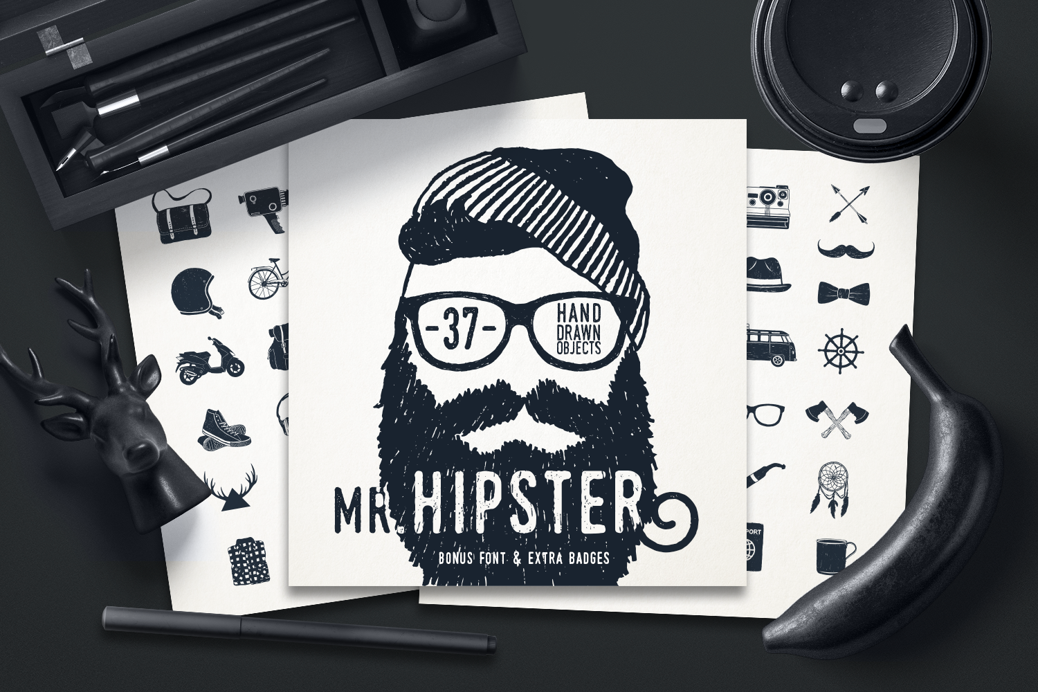 Mr.Hipster. 37 Hand Drawn Objects Gráfico Por Cosmic Store