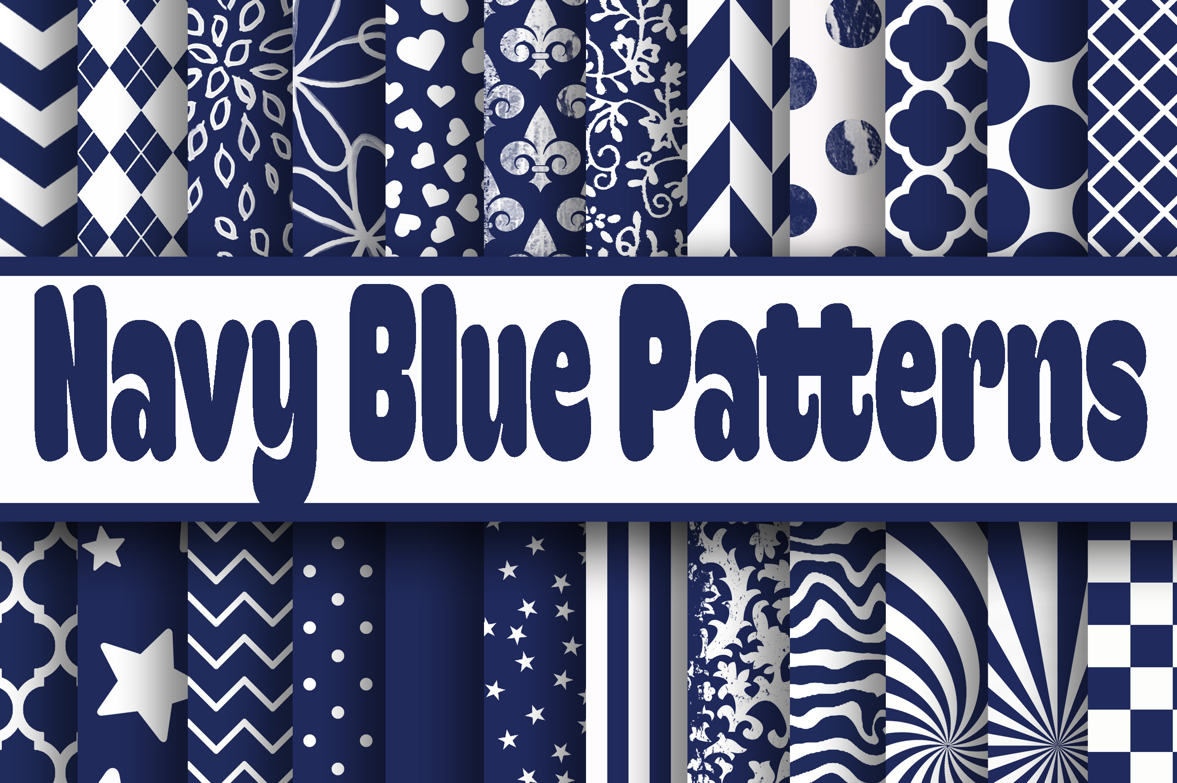 Navy Blue Patterns Digital Paper Gráfico Fondos Por oldmarketdesigns