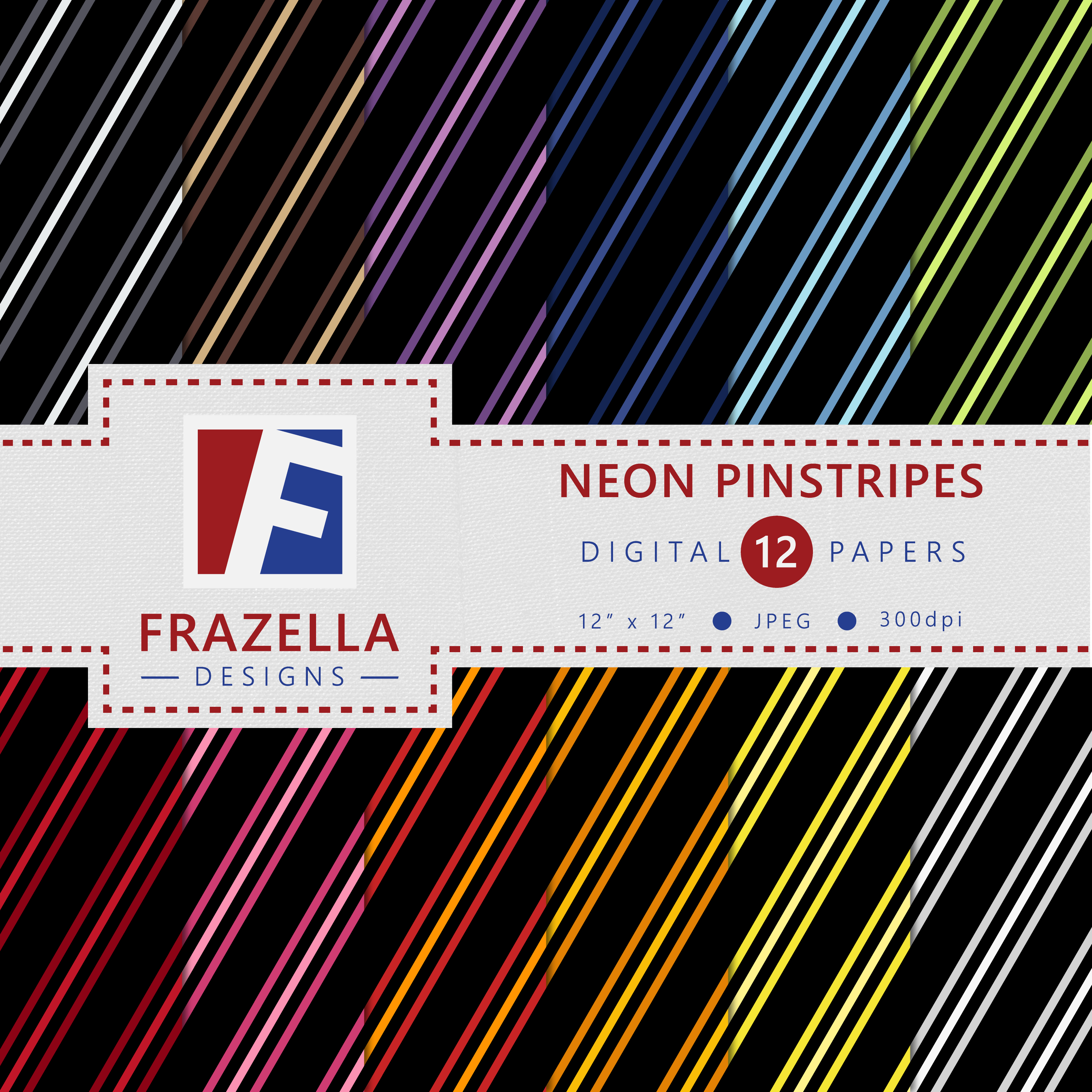 Download Free Neon Pinstripes Patterns Digital Paper Collection Graphic By for Cricut Explore, Silhouette and other cutting machines.