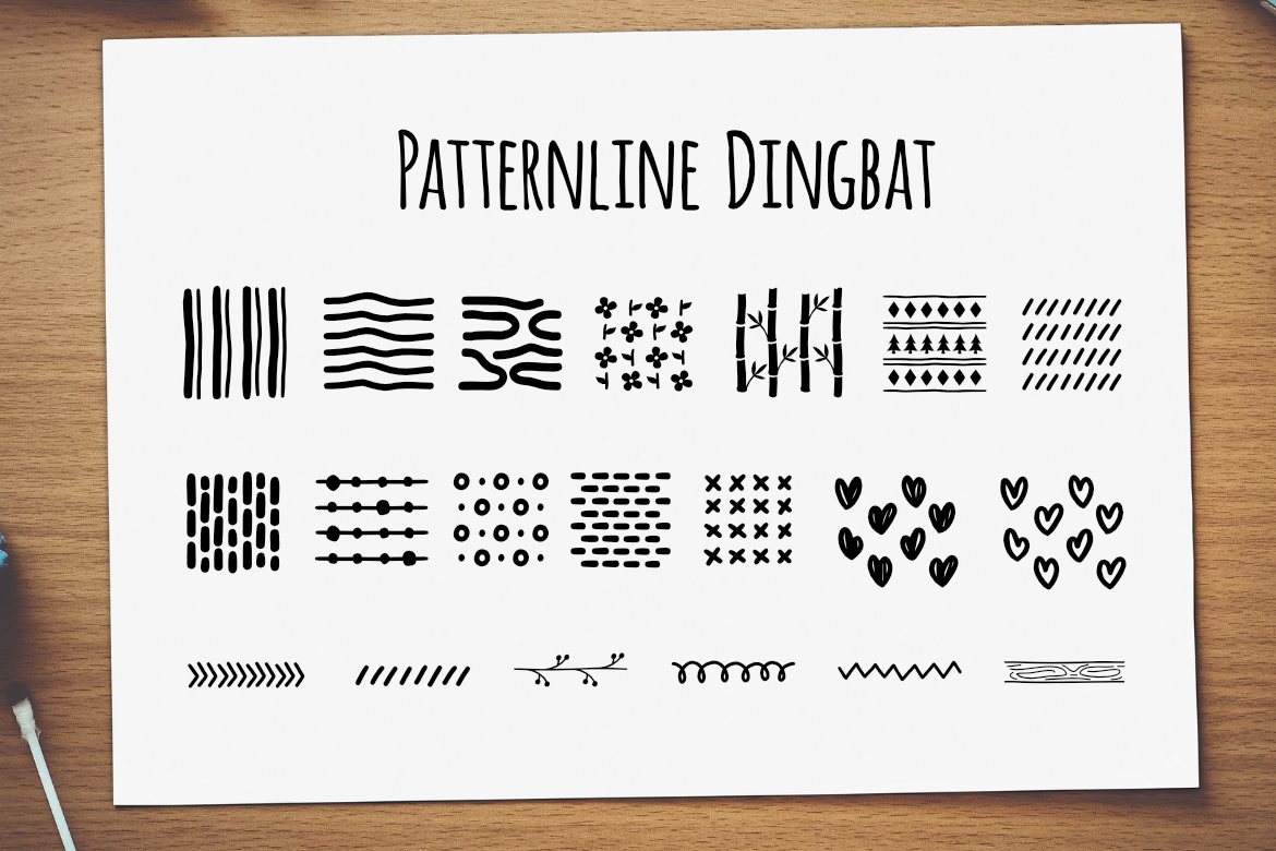 Print on Demand: Patternline Dingbat Dingbats Font By LebahStudio