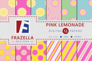 Download Free Pink Lemonade Digital Paper Graphic By Frazella Designs for Cricut Explore, Silhouette and other cutting machines.