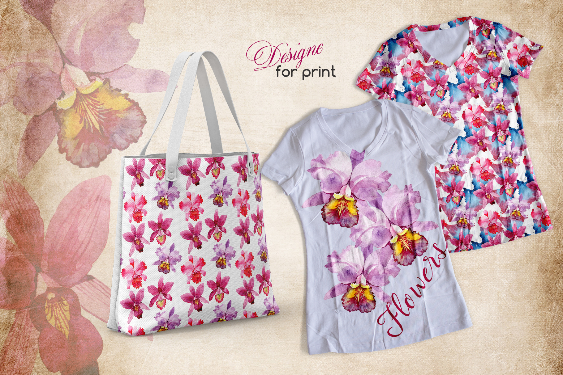 Print on Demand: Pink Watercolor Orchid Set Graphic Illustrations By MyStocks - Image 2