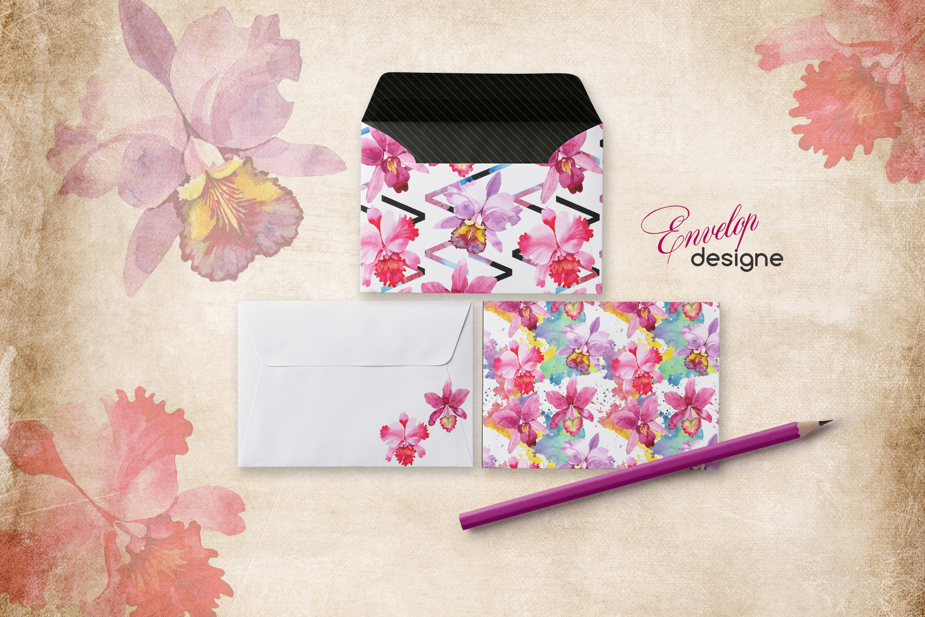 Print on Demand: Pink Watercolor Orchid Set Graphic Illustrations By MyStocks - Image 5