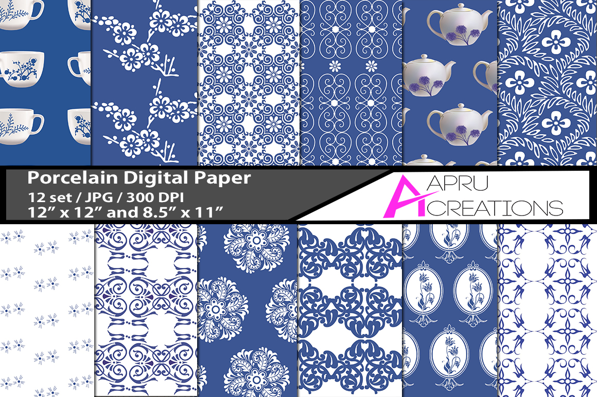 Print on Demand: Porcelain Digital Paper Graphic Patterns By aparnastjp