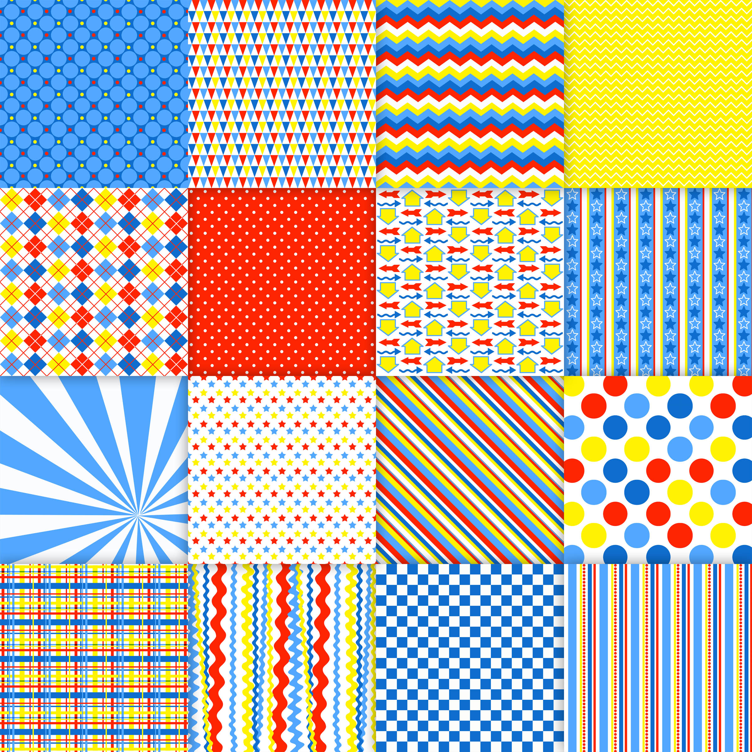 Primary Color Fun Digital Paper Graphic Backgrounds By oldmarketdesigns - Image 2