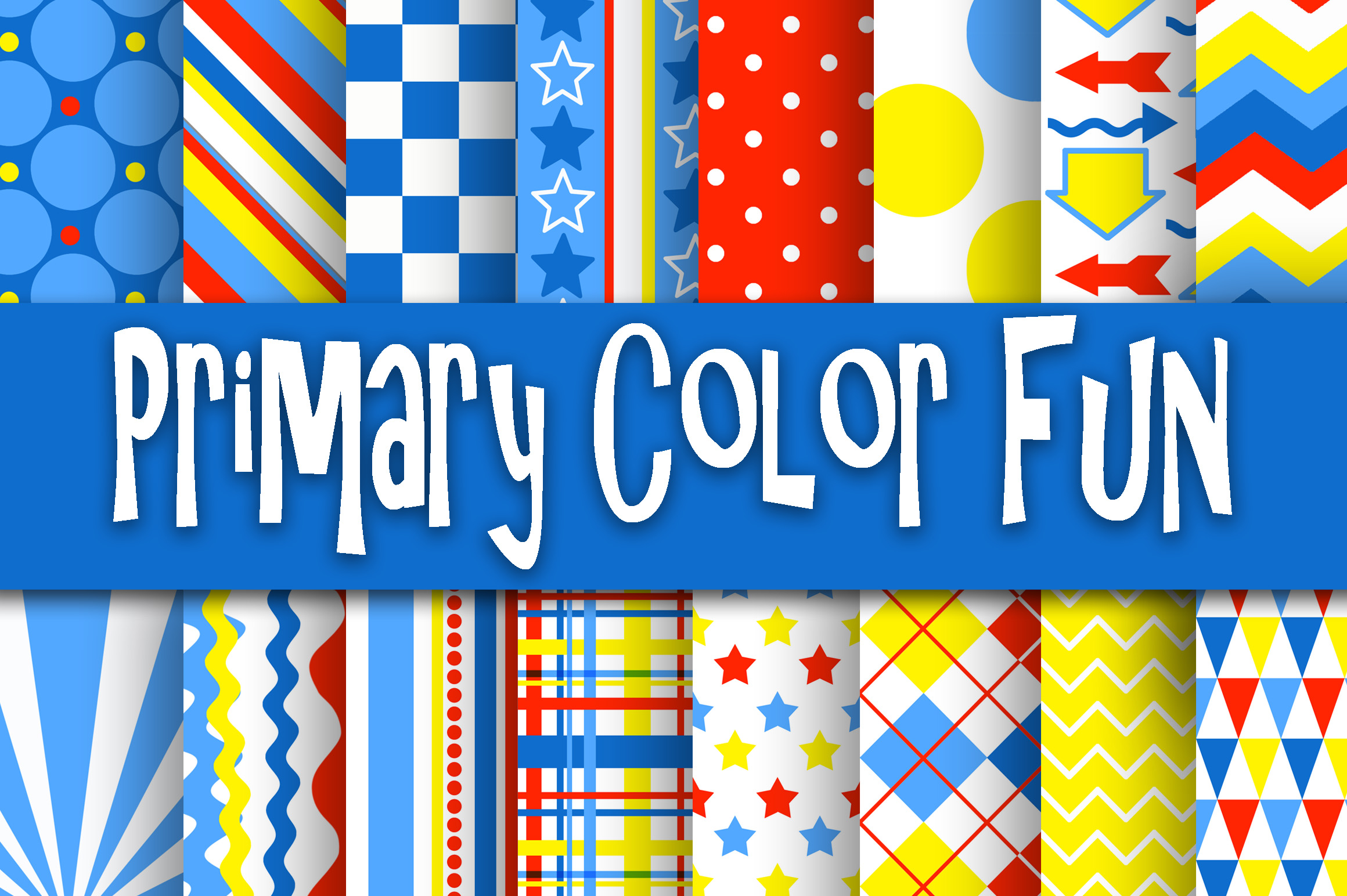 Primary Color Fun Digital Paper Graphic Backgrounds By oldmarketdesigns