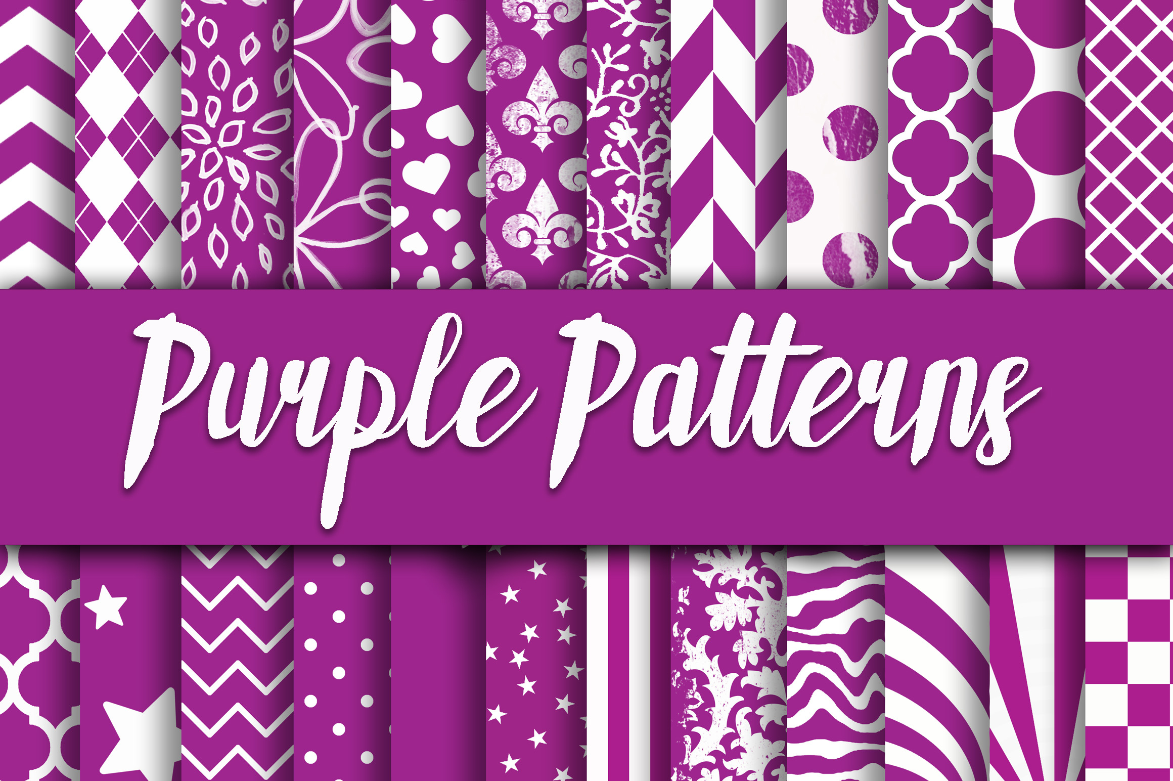 Purple Patterns Digital Paper Graphic Backgrounds By oldmarketdesigns - Image 1