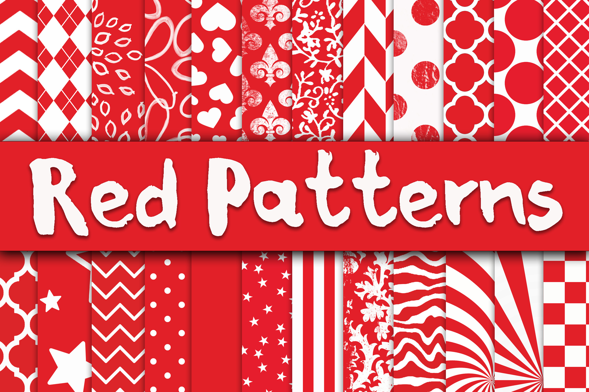 Red Patterns Digital Paper Graphic By oldmarketdesigns