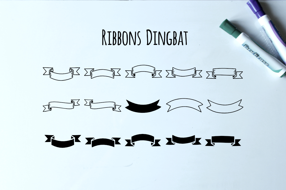 Print on Demand: Ribbons Dingbat Dingbats Font By LebahStudio