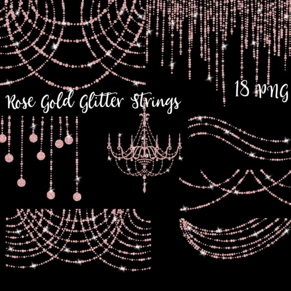 Rose Gold Glitter String Lights Clipart