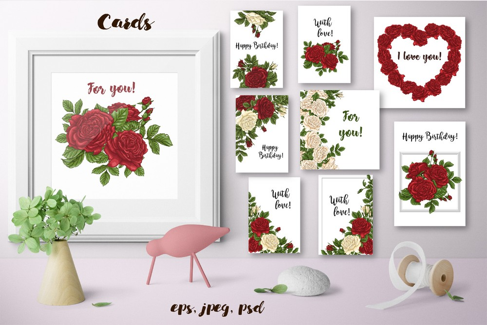 Download Free Roses Vector Clip Art Set Graphic By Nicjulia Creative Fabrica for Cricut Explore, Silhouette and other cutting machines.