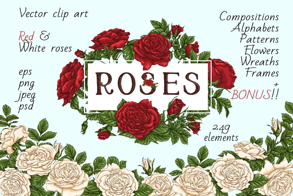 Print on Demand: Roses – Vector Clip Art Set Graphic Illustrations By nicjulia