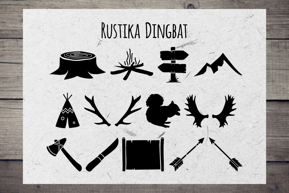 Print on Demand: Rustika Dingbat Dingbats Font By LebahStudio