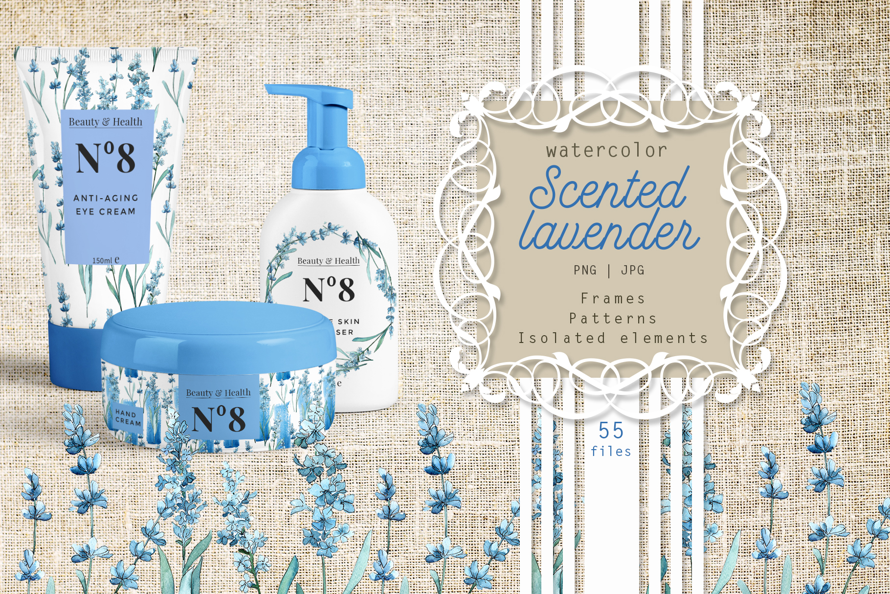 Print on Demand: Scented Lavender PNG Watercolor Flower Set Graphic Illustrations By MyStocks