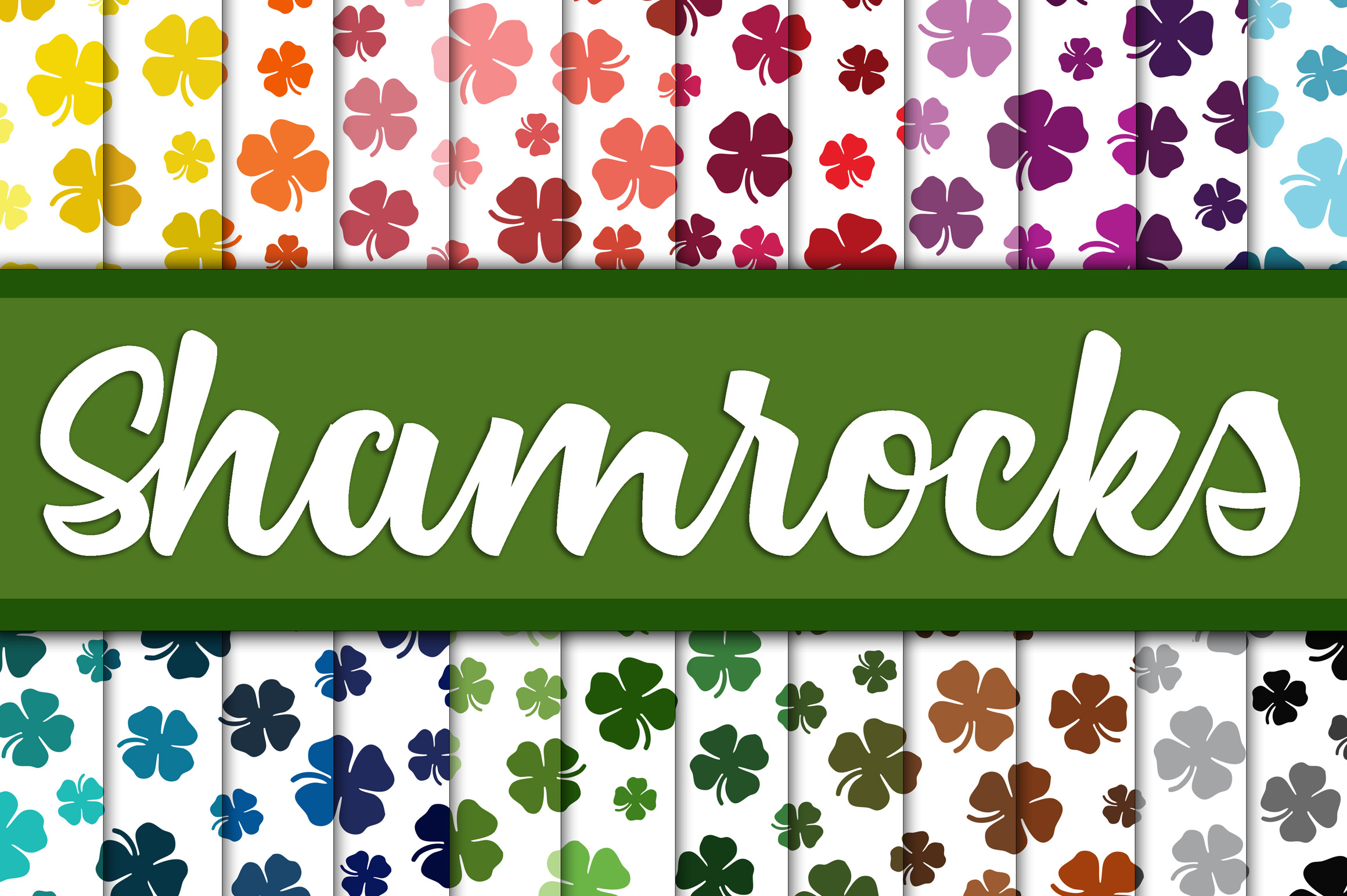 Shamrock Digital Paper - Colorful St Patrick's Day Backgrounds Graphic Backgrounds By oldmarketdesigns - Image 1
