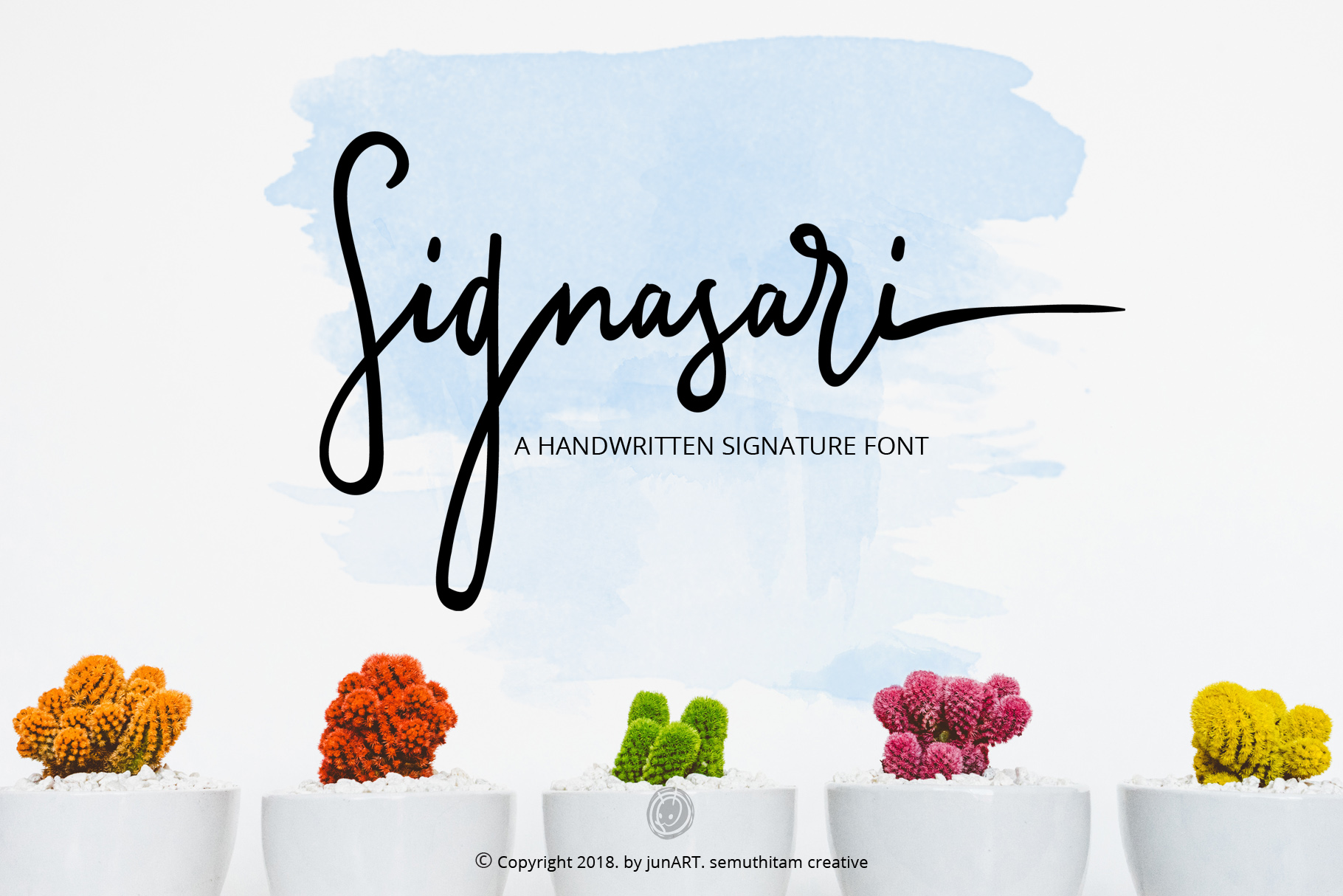Print on Demand: Signasari + Extras Script & Handwritten Font By semuthitam