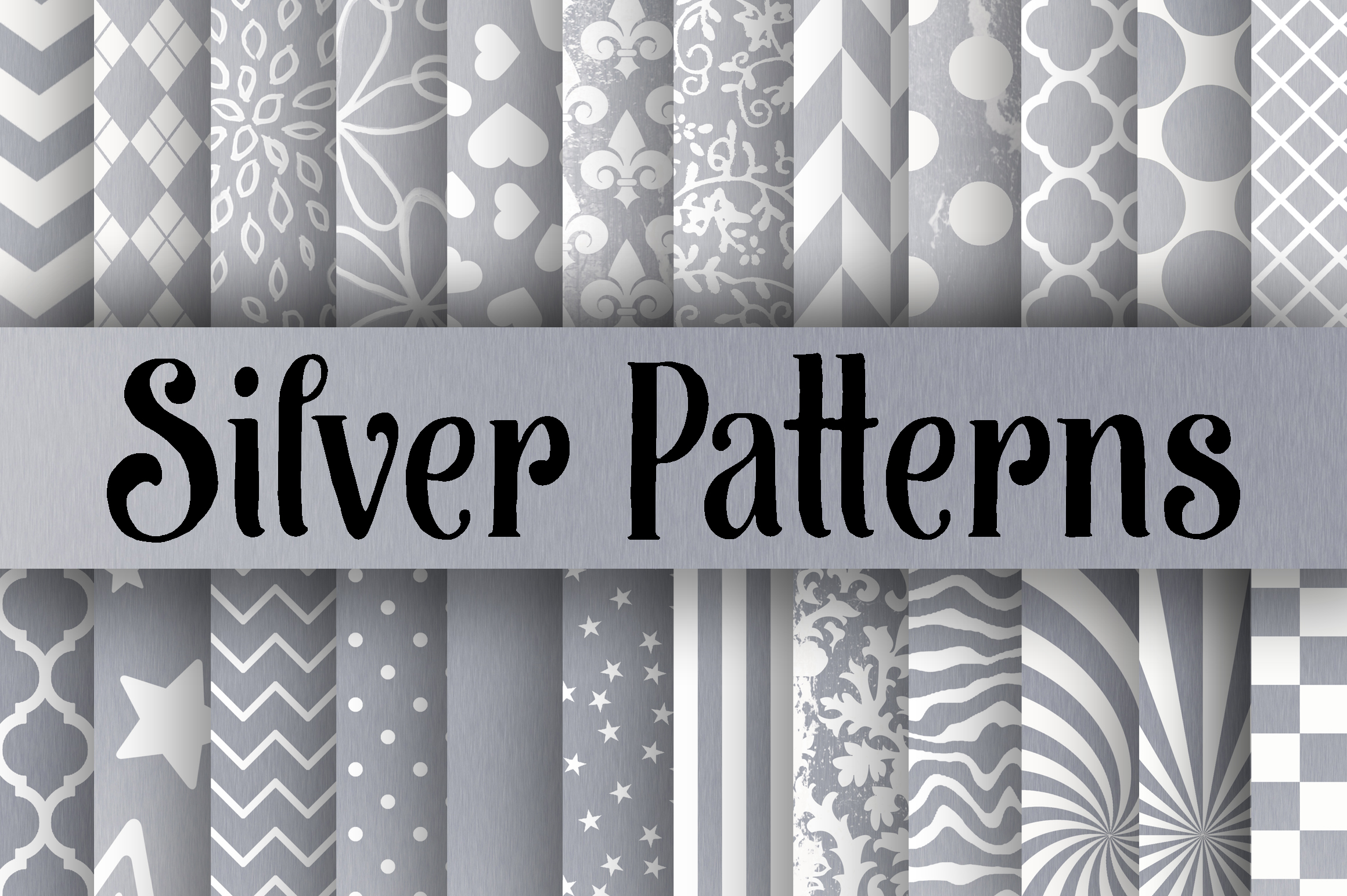 Silver Patterns Digital Paper Graphic Backgrounds By oldmarketdesigns